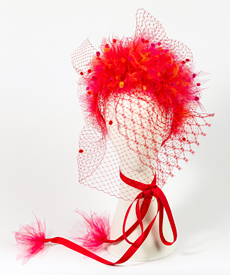 Designer hat Alora in Red with Veil by Louise Macdonald Milliner (Melbourne, Australia)