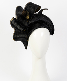 Designer hat Black and Gold Josephine by Louise Macdonald Milliner (Melbourne, Australia)
