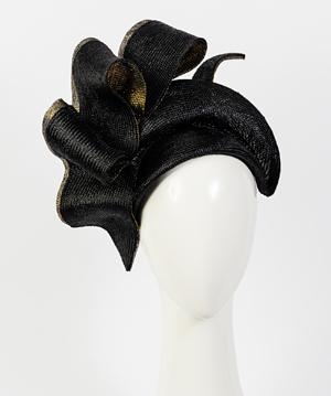 Designer hat Black and Gold Josephine by Louise Macdonald Milliner (Melbourne, Australia)