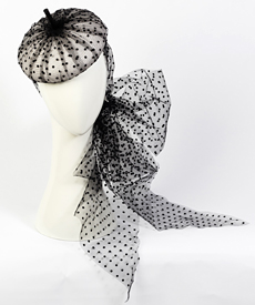 Designer hat Carlotta Beret in Black and White by Louise Macdonald Milliner (Melbourne, Australia)