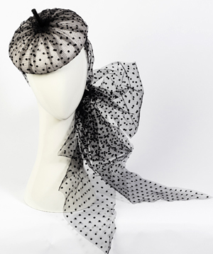 Designer hat Carlotta Beret in Black and White by Louise Macdonald Milliner (Melbourne, Australia)
