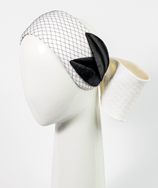 Designer hat Chiara Bow with Vintage Leaves by Louise Macdonald Milliner (Melbourne, Australia)