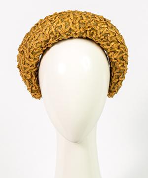 Designer hat Elodie Halo in Natural Vintage Braid by Louise Macdonald Milliner (Melbourne, Australia)