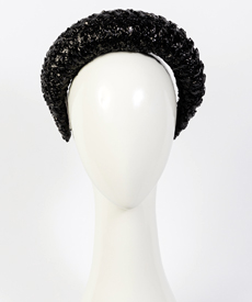Designer hat Milano in Black Vintage Braid by Louise Macdonald Milliner (Melbourne, Australia)
