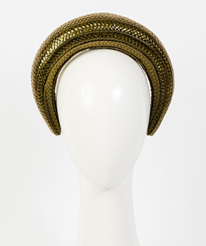 Designer hat Milano in Olive Gloss Braid by Louise Macdonald Milliner (Melbourne, Australia)