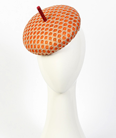 Designer hat Orange and Gold Bergamo by Louise Macdonald Milliner (Melbourne, Australia)