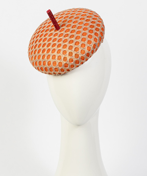 Designer hat Orange and Gold Bergamo by Louise Macdonald Milliner (Melbourne, Australia)
