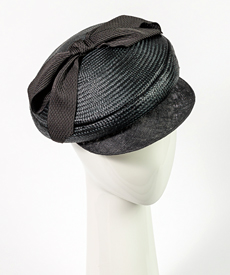 Designer hat Seraina Cap in Black by Louise Macdonald Milliner (Melbourne, Australia)