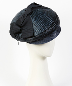 Designer hat Seraina Cap in Navy by Louise Macdonald Milliner (Melbourne, Australia)