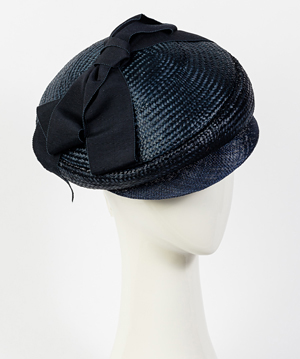 Fashion hat Seraina Cap in Navy, a design by Melbourne milliner Louise Macdonald