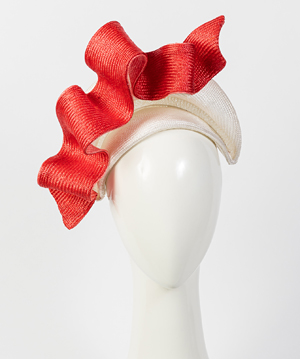 Designer hat White and Watermelon Josephine by Louise Macdonald Milliner (Melbourne, Australia)