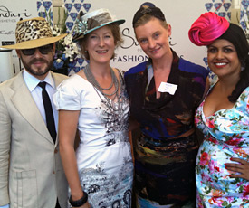 Melbourne milliner Louise Macdonald was invited to judge the Fashions on the Field entries at Caulfield Blue Diamond Stakes Day 2013 along with stylist Philip Boon, Erica Nolan and Lea Rajendran