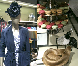 Designer hats by Louise Macdonald Milliner were available in all the Hugo Boss stores in Melbourne for the 2013 Spring Racing Carnival; the launch at the Collins Street store included champagne, macarons and a DJ, and Louise filmed a segment for channel Ten; click or touch to enlarge