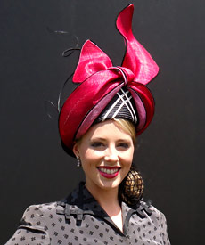 Fashion hat by milliner Louise Macdonald was a finalist in the Professional Millinery Competition at Melbourne Oaks Day 2012