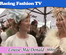 Melbourne milliner Louise Macdonald was interviewed by Racing Fashion TV on Oaks Day 2010