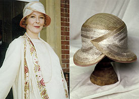 Stella Gonet in The House of Elliot (left); headpiece designed by Louise Macdonald (right)