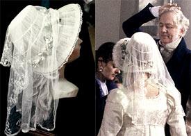 Elizabeth's wedding bonnet (left); Jennifer Ehle and Benjamin Whitrow (right)