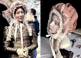 Lynn Farleigh in Pride and Prejudice (left); headpiece designed by Louise Macdonald (right)