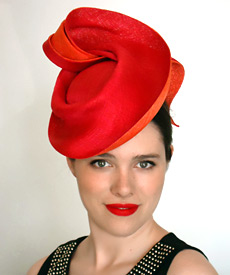 Melbourne milliner Louise Macdonald's sweeping sculpted designer hat, created exclusively for Hugo Boss