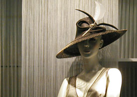 Designer hats by Melbourne milliner Louise Macdonald were sold at Hugo Boss Collins Street in 2008