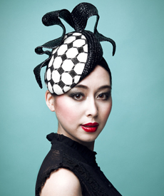 Fashion hat Black and White LaFayette Beret, a design by Melbourne milliner Louise Macdonald
