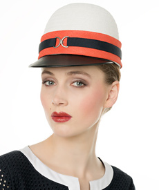 Fashion hat Ivory, Orange and Navy Cap, a design by Melbourne milliner Louise Macdonald