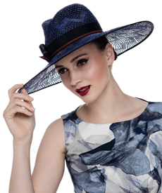 Fashion hat Blue Lacy Fedora, a design by Melbourne milliner Louise Macdonald