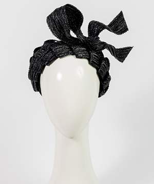 Fashion hat Black Loveday Bandeau, a design by Melbourne milliner Louise Macdonald