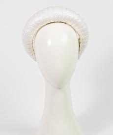 Louise Macdonald Milliner's 2019 collection for Hugo Boss (Melbourne, Australia) - designer hat Milano in White Gloss Braid