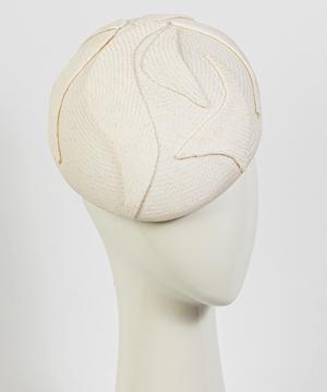 Fashion hat White Beret, a design by Melbourne milliner Louise Macdonald