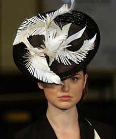Designer hat Barbarella, by Louise Macdonald Milliner, at the Melbourne Spring Fashion Week Millinery Parade 2007