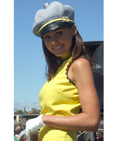 Melbourne Cup Fashions on the Fields 2007 contestant wearing designer hat Bibi Cap by Louise Macdonald Milliner (Melbourne, Australia)