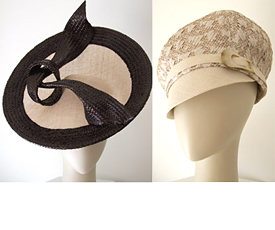 Fashion hats Miss Moneypenny (left) and Bibi Cap