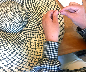 Millinery student works on her Dior Brims from Buntal Mats headpiece (February 2019)