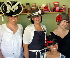 Fashion hats created by millinery students during workshop at Louise Macdonald's studio in Melbourne (2007)