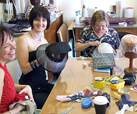 Millinery students create their designer hats during workshop at Louise Macdonald's Melbourne studio (2010)