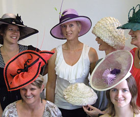 Millinery students show their designer hats at Louise Macdonald's Melbourne studio (2010)