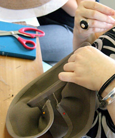 At Louise Macdonald's studio in Melbourne (2013), a millinery student makes a sculpted felt hat (a great option for the Sydney Autumn Racing Carnival)
