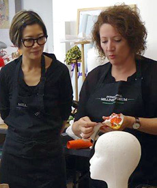 Carole Maher, a visiting tutor in the 2014 Millinery Summer School, introduced students to new materials being used in millinery: thermoplastics