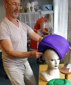 Buntal straw hats being made during the Millinery Summer School 2014 at Louise Macdonald's Melbourne studio