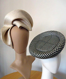 Fashion headpieces created by millinery students of the Sculpting and Blocking Straw workshop; a new way of making structured and freeform hats without blocks