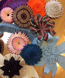 Ribbon cockades made by millinery students in the Ribbon Origami 2015 course at Louise Macdonald's Melbourne studio