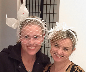 Millinery students show off their birdcage veils at Louise Macdonald's Melbourne studio