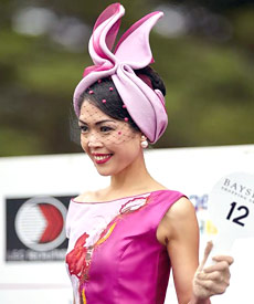 Louise Macdonald Milliner's pink tuban was a finalist in the Melbourne Racing Club's inaugural professional millinery competition in the Mornington Peninsula Cup 2015