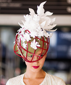 Louise's entry for the Oaks Day 2014 professional millinery competition: selected for The Victorian Racing Club's Spring Racing Carnival 2015 advertising campaign and featured in the The Wall Street Journal