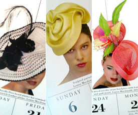 Six Designer hats by Melbourne milliner Louise Macdonald were selected for the international calendar 365 Days of Hats (2014)