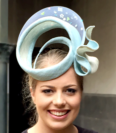 Melbourne milliner Louise Macdonald's entry in the Melbourne International Millinery Competition (MIMC); Seaspray was hand sculpted from sinamay, trimmed with crinoline and delicate and unusual sequins and beads at the back