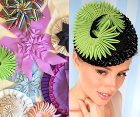 Ribbon Origami, one of Louise Macdonald's signature workshops, is featured in The Hat Magazine